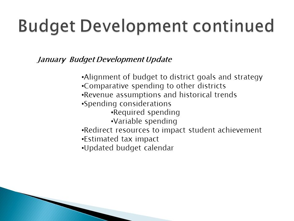 January Budget Development Update Alignment of budget to district goals and strategy Comparative spending to other districts Revenue assumptions and h