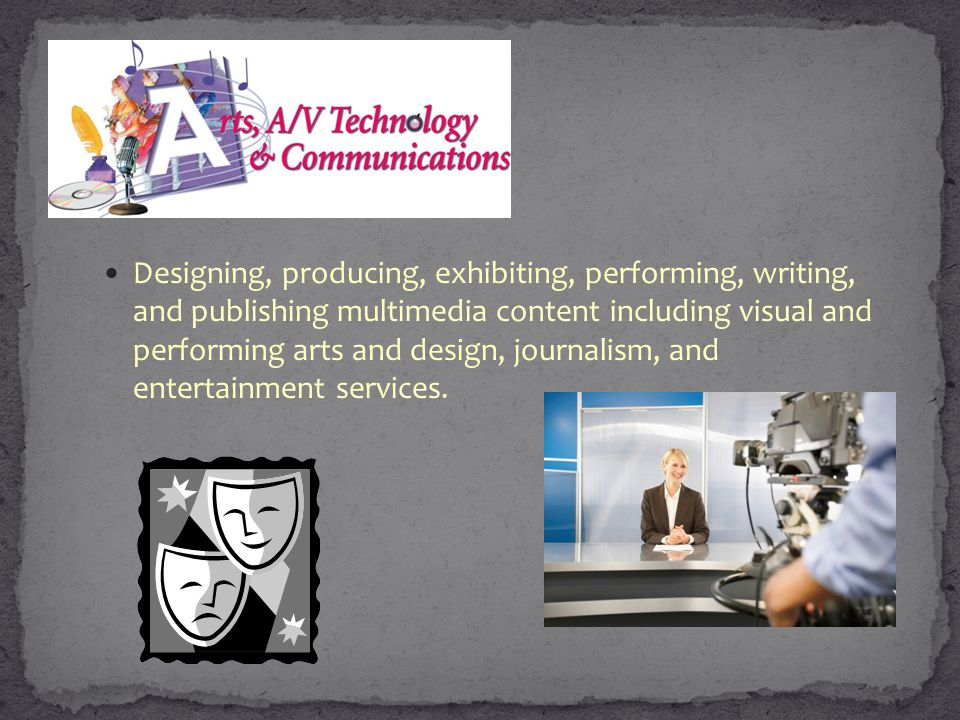 Designing, producing, exhibiting, performing, writing, and publishing multimedia content including visual and performing arts and design, journalism, and entertainment services.