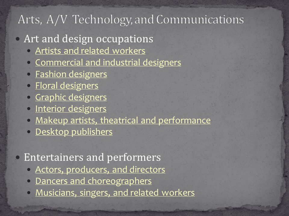 Art and design occupations Artists and related workers Commercial and industrial designers Fashion designers Floral designers Graphic designers Interior designers Makeup artists, theatrical and performance Desktop publishers Entertainers and performers Actors, producers, and directors Dancers and choreographers Musicians, singers, and related workers