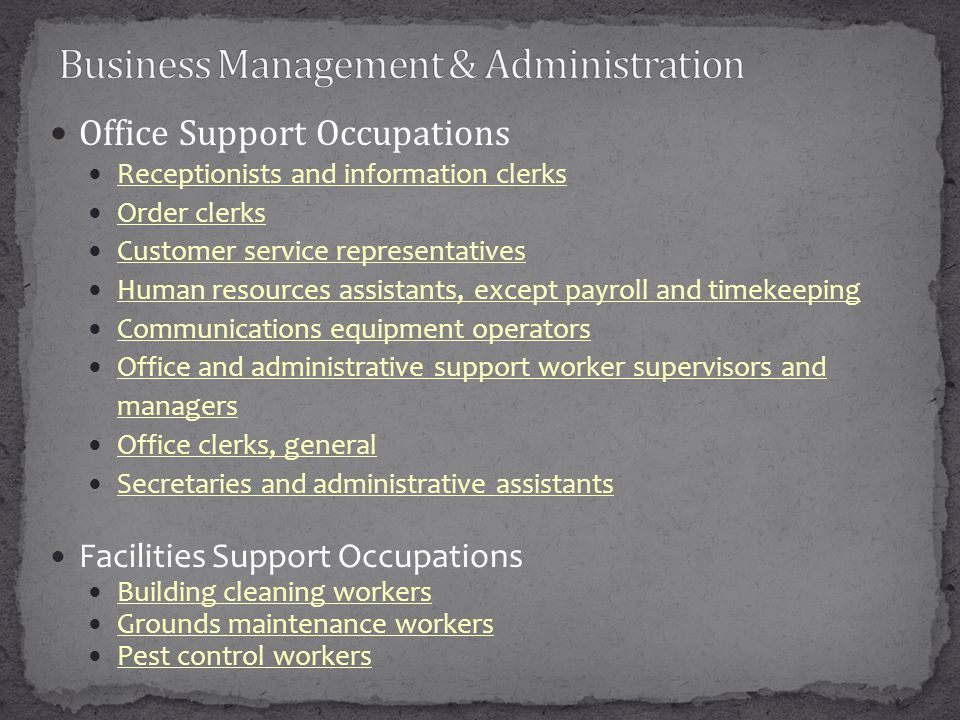 Office Support Occupations Receptionists and information clerks Order clerks Customer service representatives Human resources assistants, except payro