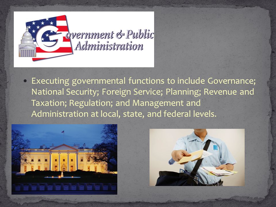 Executing governmental functions to include Governance; National Security; Foreign Service; Planning; Revenue and Taxation; Regulation; and Management