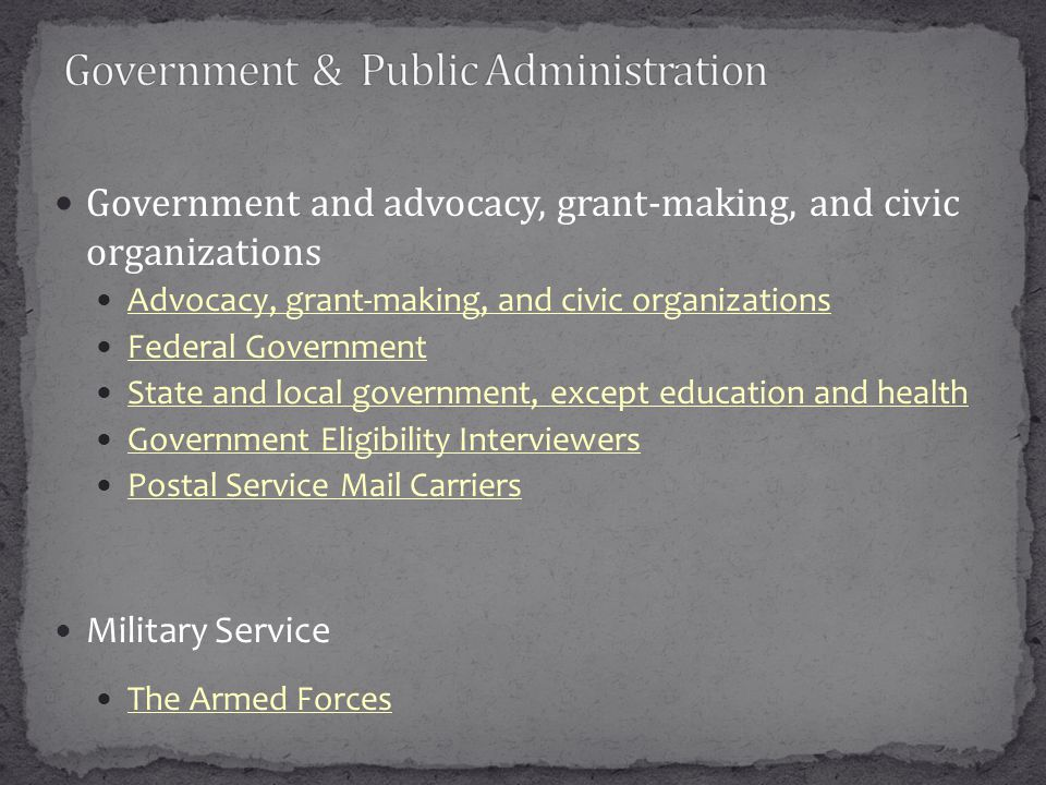 Government and advocacy, grant-making, and civic organizations Advocacy, grant-making, and civic organizations Federal Government State and local government, except education and health Government Eligibility Interviewers Postal Service Mail Carriers Military Service The Armed Forces
