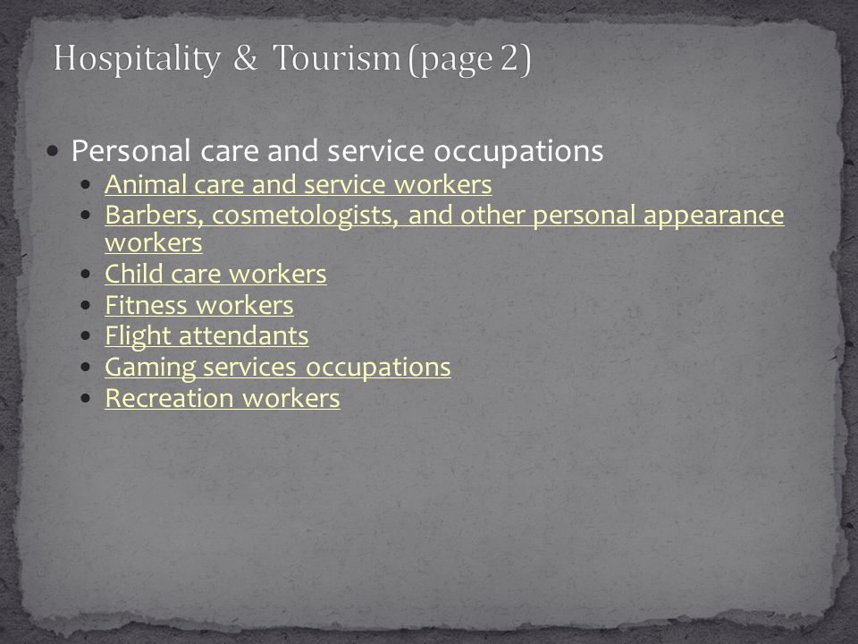 Personal care and service occupations Animal care and service workers Barbers, cosmetologists, and other personal appearance workers Barbers, cosmetol