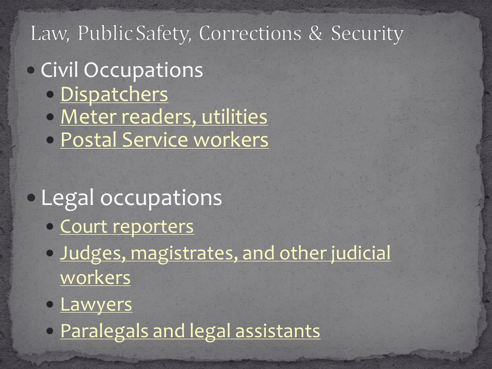 Civil Occupations Dispatchers Meter readers, utilities Postal Service workers Legal occupations Court reporters Judges, magistrates, and other judicia
