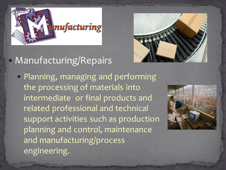 Manufacturing/Repairs Planning, managing and performing the processing of materials into intermediate or final products and related professional and technical support activities such as production planning and control, maintenance and manufacturing/process engineering.