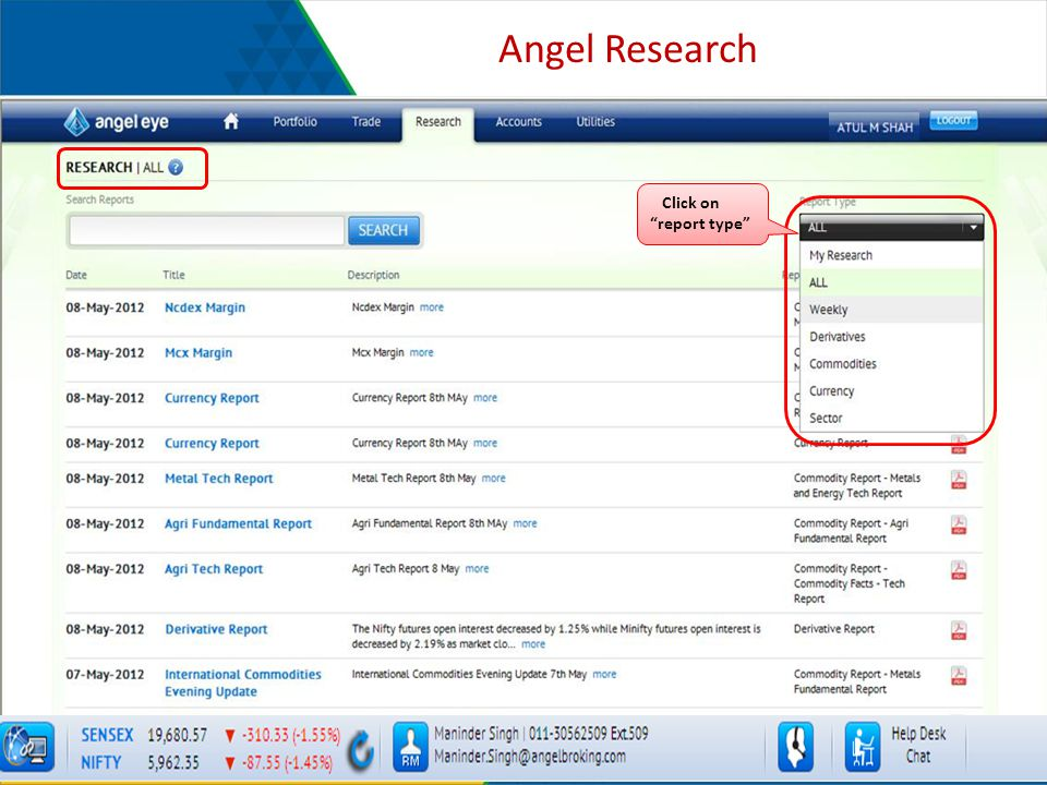 Angel Research Click on report type