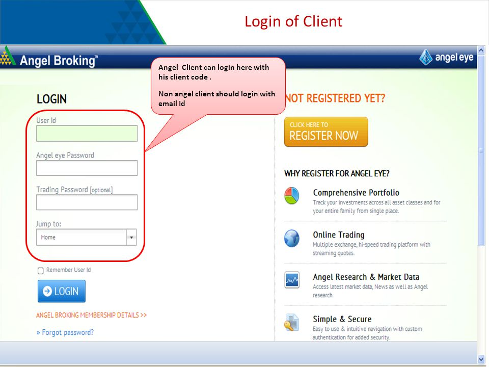 Login of Client Angel Client can login here with his client code.