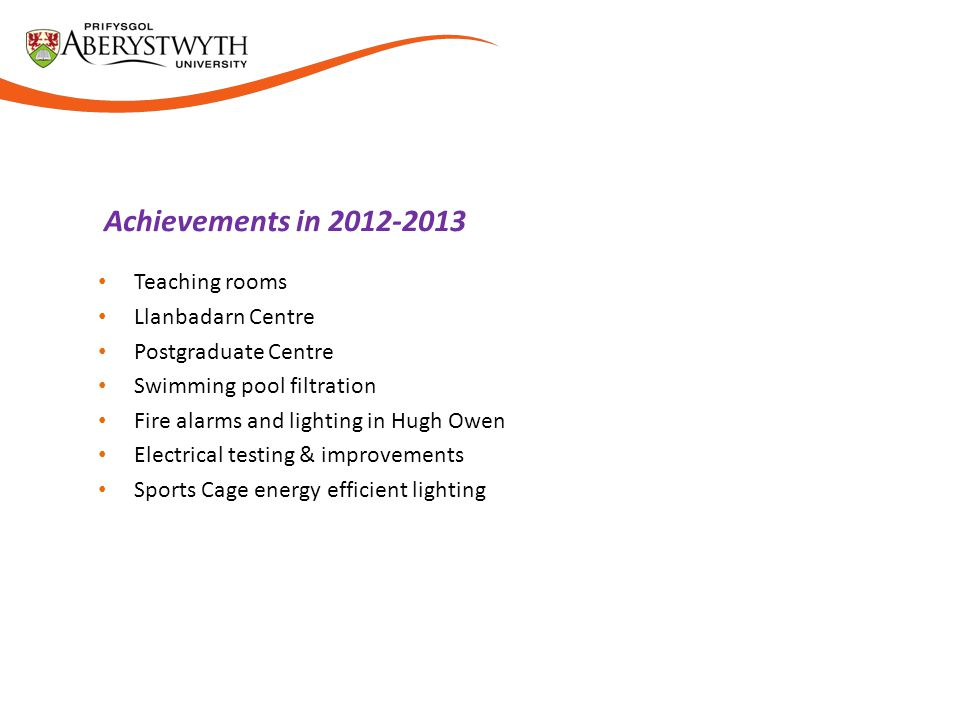 Achievements in 2012-2013 Teaching rooms Llanbadarn Centre Postgraduate Centre Swimming pool filtration Fire alarms and lighting in Hugh Owen Electrical testing & improvements Sports Cage energy efficient lighting