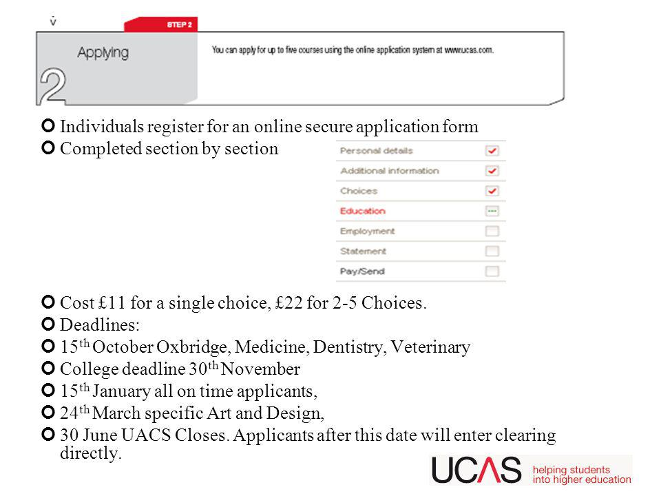 Individuals register for an online secure application form Completed section by section Cost £11 for a single choice, £22 for 2-5 Choices.