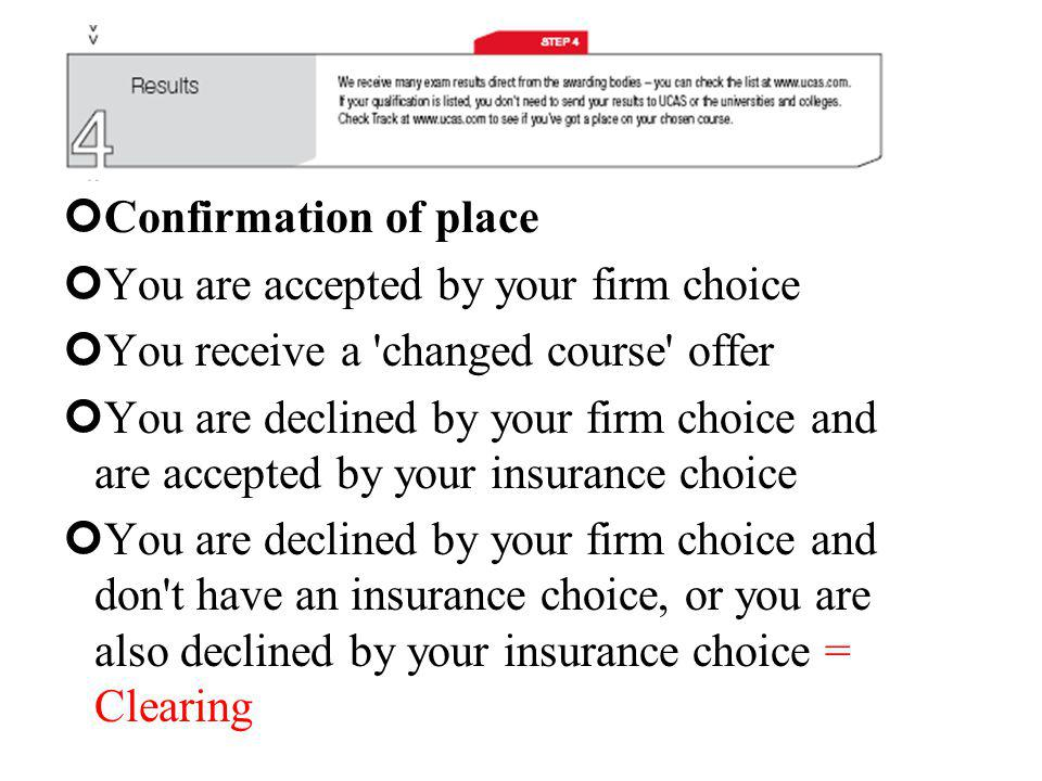 Confirmation of place You are accepted by your firm choice You receive a changed course offer You are declined by your firm choice and are accepted by your insurance choice You are declined by your firm choice and don t have an insurance choice, or you are also declined by your insurance choice = Clearing