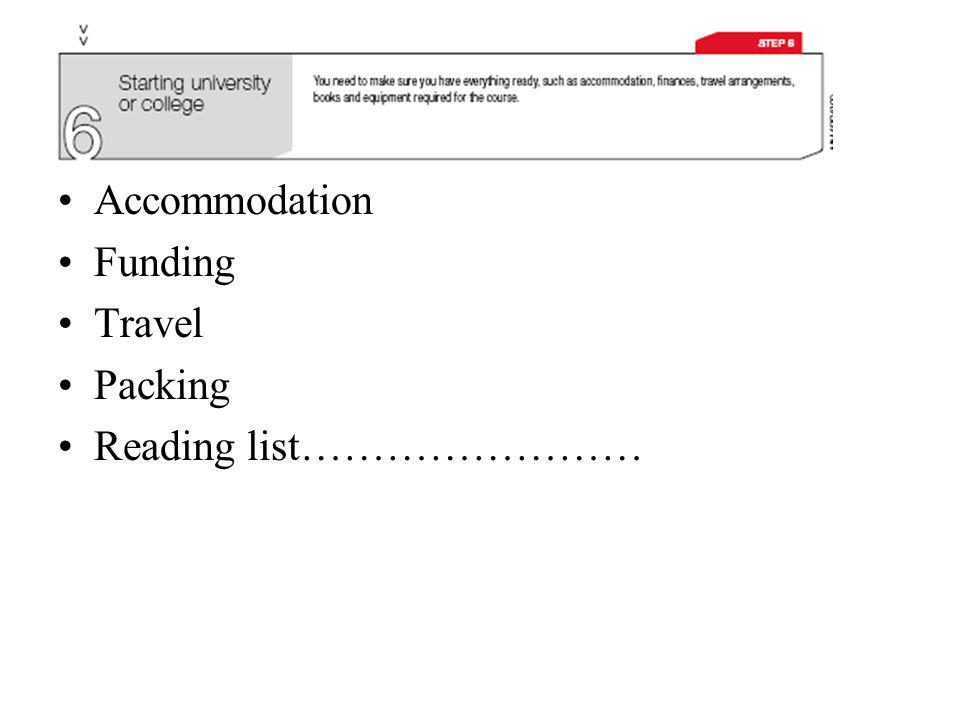 Accommodation Funding Travel Packing Reading list……………………
