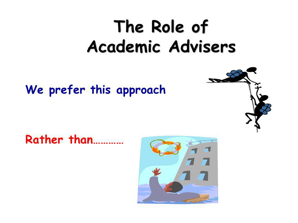 The Role of Academic Advisers We prefer this approach Rather than…………