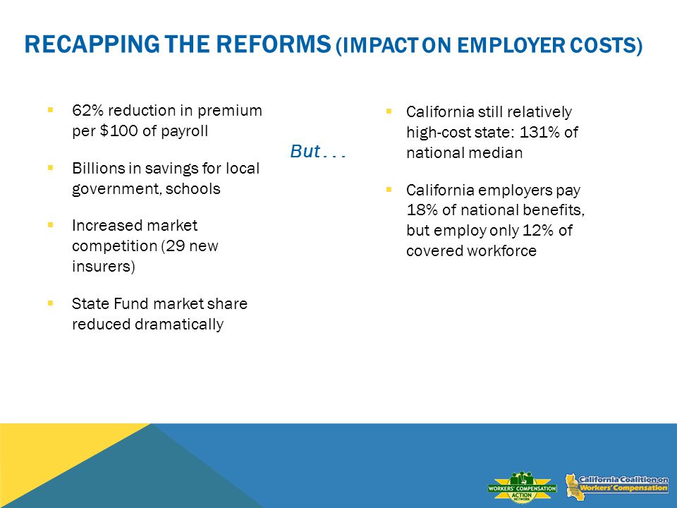 RECAPPING THE REFORMS (IMPACT ON EMPLOYER COSTS) 62% reduction in premium per $100 of payroll Billions in savings for local government, schools Increased market competition (29 new insurers) State Fund market share reduced dramatically But...