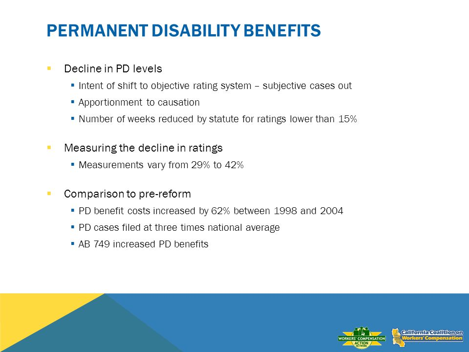 PERMANENT DISABILITY BENEFITS Decline in PD levels Intent of shift to objective rating system – subjective cases out Apportionment to causation Number of weeks reduced by statute for ratings lower than 15% Measuring the decline in ratings Measurements vary from 29% to 42% Comparison to pre-reform PD benefit costs increased by 62% between 1998 and 2004 PD cases filed at three times national average AB 749 increased PD benefits