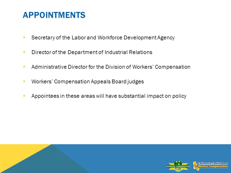 APPOINTMENTS Secretary of the Labor and Workforce Development Agency Director of the Department of Industrial Relations Administrative Director for the Division of Workers Compensation Workers Compensation Appeals Board judges Appointees in these areas will have substantial impact on policy