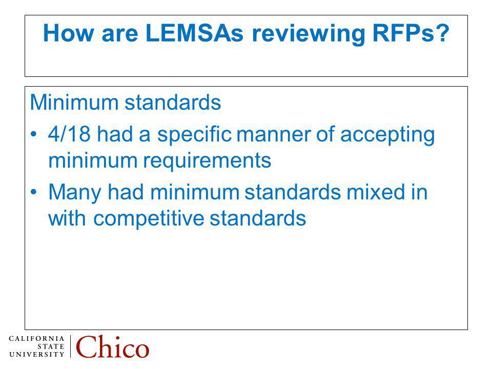 How are LEMSAs reviewing RFPs.