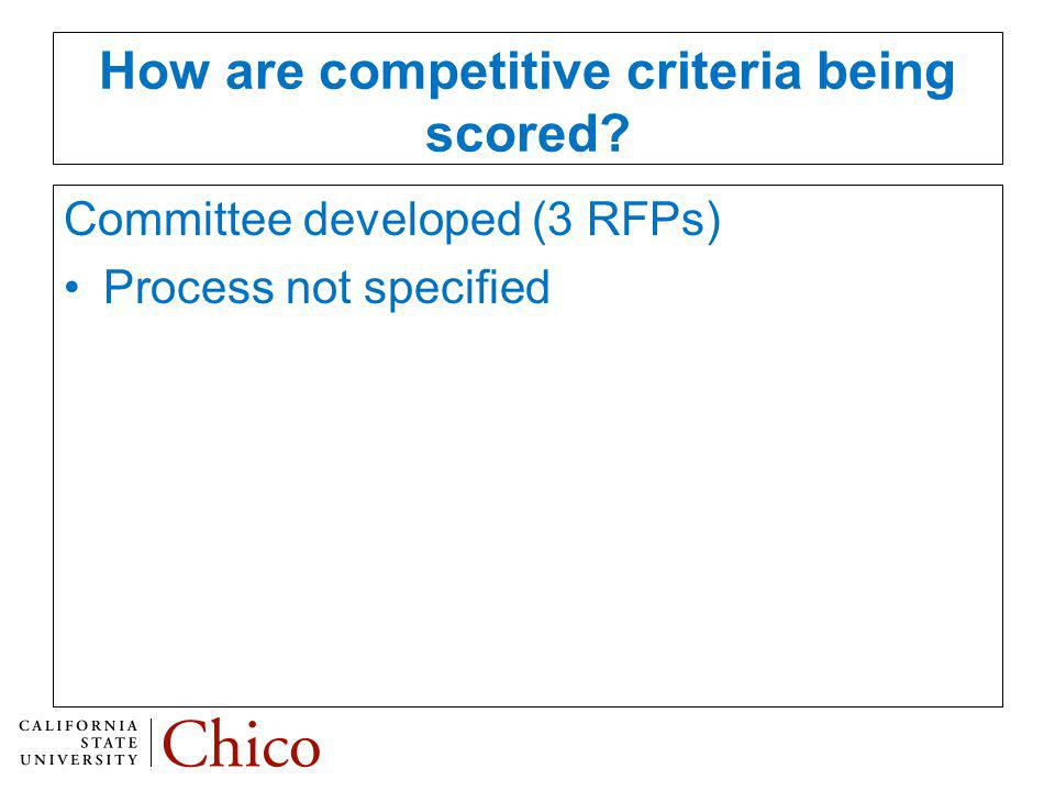 How are competitive criteria being scored Committee developed (3 RFPs) Process not specified