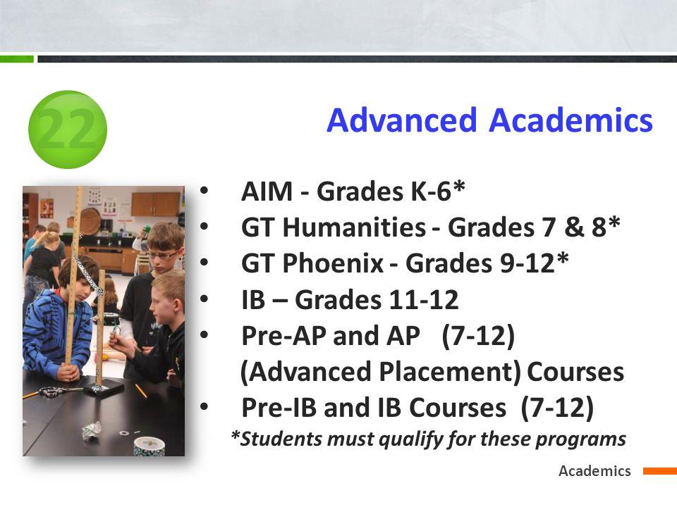Academics Advanced Academics AIM - Grades K-6* GT Humanities - Grades 7 & 8* GT Phoenix - Grades 9-12* IB – Grades 11-12 Pre-AP and AP (7-12) (Advance