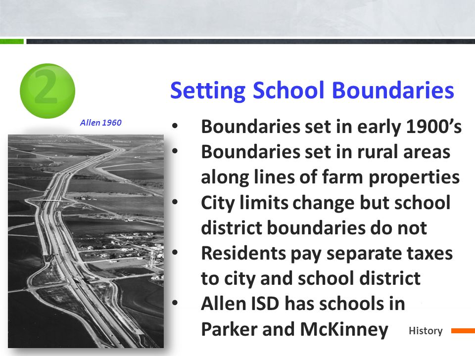2 Setting School Boundaries Boundaries set in early 1900s Boundaries set in rural areas along lines of farm properties City limits change but school district boundaries do not Residents pay separate taxes to city and school district Allen ISD has schools in Parker and McKinney Allen 1960