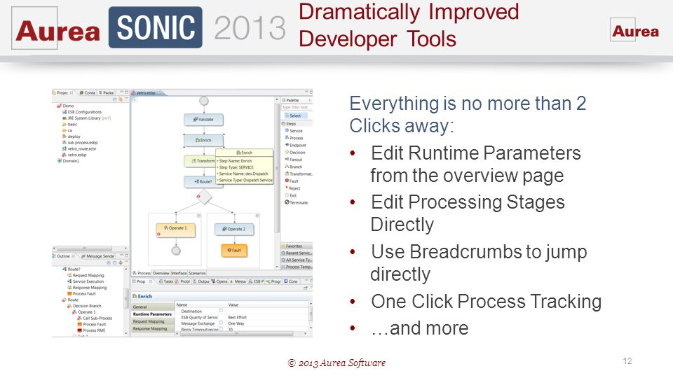 © 2013 Aurea Software 12 Dramatically Improved Developer Tools Everything is no more than 2 Clicks away: Edit Runtime Parameters from the overview pag