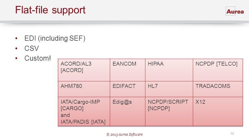 © 2013 Aurea Software 15 Flat-file support EDI (including SEF) CSV Custom!