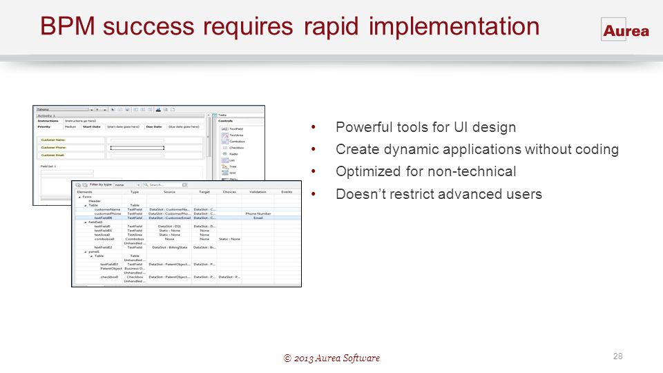 © 2013 Aurea Software 28 BPM success requires rapid implementation Powerful tools for UI design Create dynamic applications without coding Optimized f