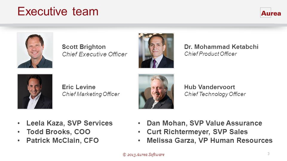 © 2013 Aurea Software 3 Executive team Scott Brighton Chief Executive Officer Dr. Mohammad Ketabchi Chief Product Officer Hub Vandervoort Chief Techno