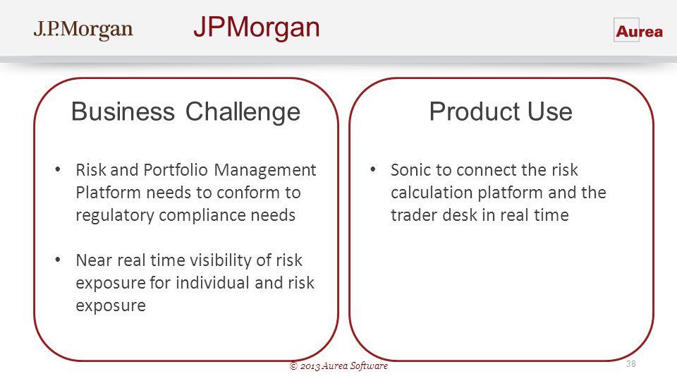 © 2013 Aurea Software 38 JPMorgan Business Challenge Risk and Portfolio Management Platform needs to conform to regulatory compliance needs Near real