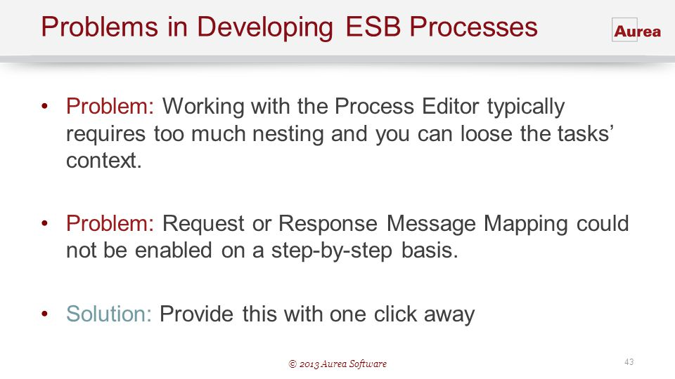 © 2013 Aurea Software 43 Problems in Developing ESB Processes Problem: Working with the Process Editor typically requires too much nesting and you can
