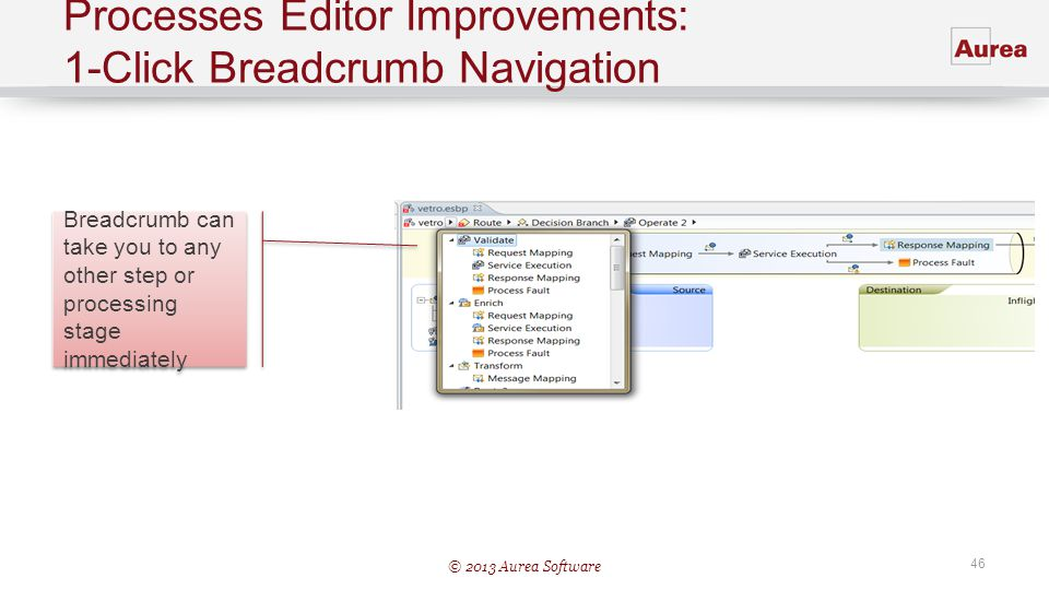 © 2013 Aurea Software 46 Processes Editor Improvements: 1-Click Breadcrumb Navigation Breadcrumb can take you to any other step or processing stage im