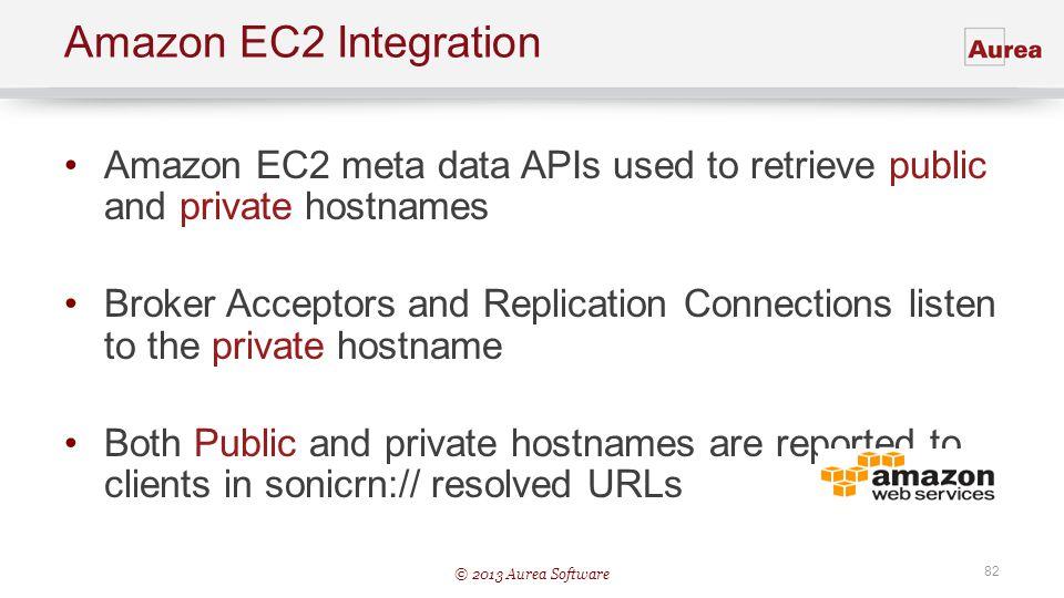 © 2013 Aurea Software 82 Amazon EC2 Integration Amazon EC2 meta data APIs used to retrieve public and private hostnames Broker Acceptors and Replicati