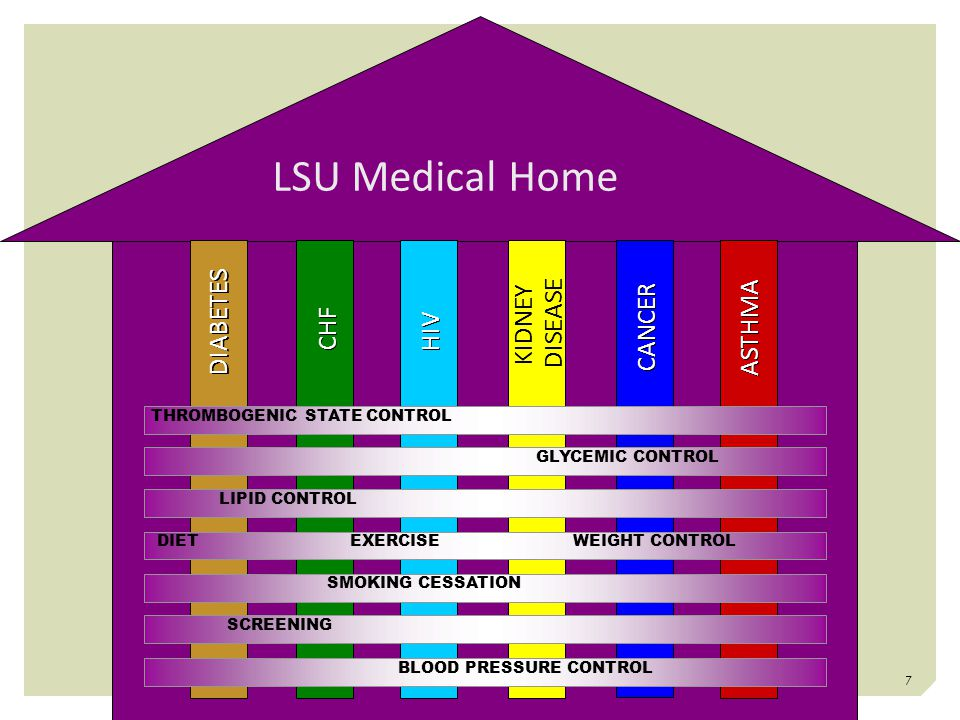 LSU Medical Home DIABETES CHF HIV KIDNEY DISEASE KIDNEY DISEASE CANCER ASTHMA THROMBOGENIC STATE CONTROL BLOOD PRESSURE CONTROL GLYCEMIC CONTROL LIPID CONTROL SMOKING CESSATION DIETEXERCISEWEIGHT CONTROL SCREENING 7