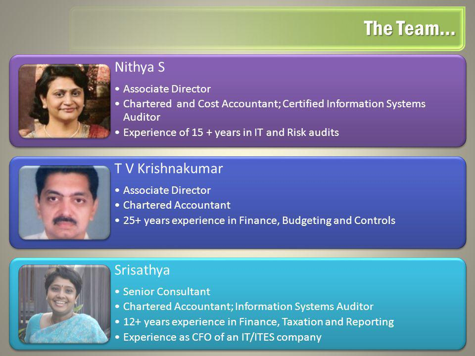 Nithya S Associate Director Chartered and Cost Accountant; Certified Information Systems Auditor Experience of 15 + years in IT and Risk audits T V Kr
