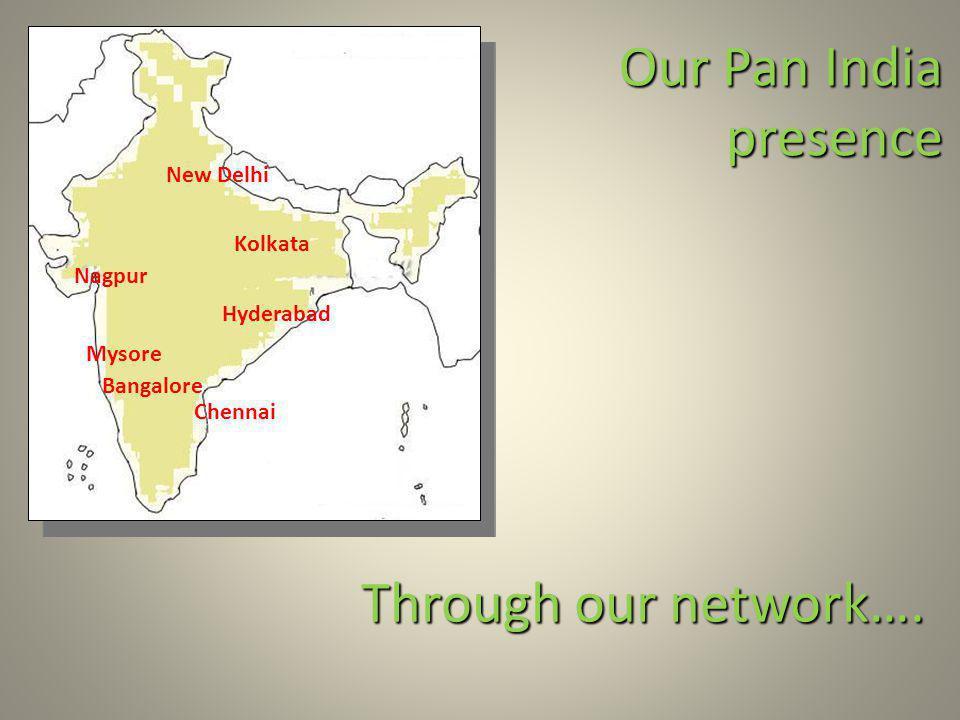 New Delhi Hyderabad Bangalore Mysore Our Pan India presence Chennai Kolkata Nagpur Through our network….