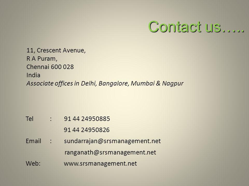 Contact us….. 11, Crescent Avenue, R A Puram, Chennai 600 028 India Associate offices in Delhi, Bangalore, Mumbai & Nagpur Tel: 91 44 24950885 91 44 2