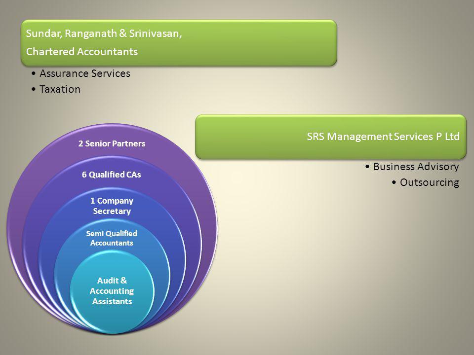 Sundar, Ranganath & Srinivasan, Chartered Accountants Assurance Services Taxation SRS Management Services P Ltd Business Advisory Outsourcing