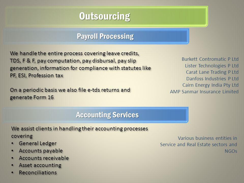 Outsourcing Burkett Contromatic P Ltd Lister Technologies P Ltd Carat Lane Trading P Ltd Danfoss Industries P Ltd Cairn Energy India Pty Ltd AMP Sanma