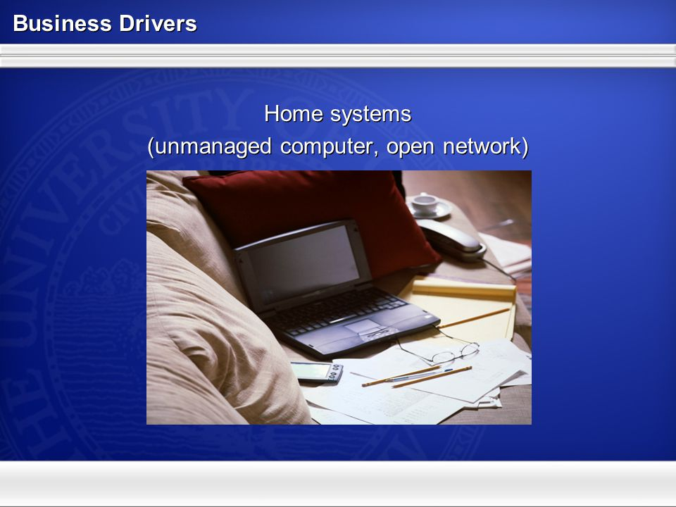 Business Drivers Mobile systems (managed and unmanaged computer, open network ) Mobile systems (managed and unmanaged computer, open network )
