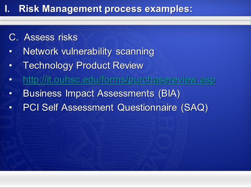 I.Risk Management processes A.Identify information assets B.Classify C.Assess risks D.Mitigate risks A.Identify information assets B.Classify C.Assess risks D.Mitigate risks