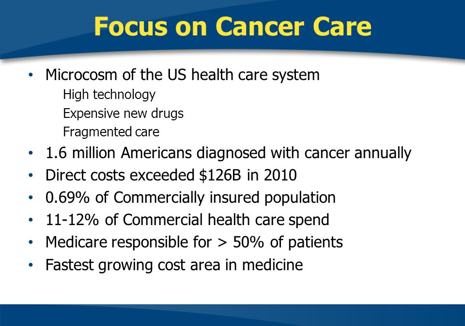 Focus on Cancer Care Microcosm of the US health care system High technology Expensive new drugs Fragmented care 1.6 million Americans diagnosed with cancer annually Direct costs exceeded $126B in 2010 0.69% of Commercially insured population 11-12% of Commercial health care spend Medicare responsible for > 50% of patients Fastest growing cost area in medicine