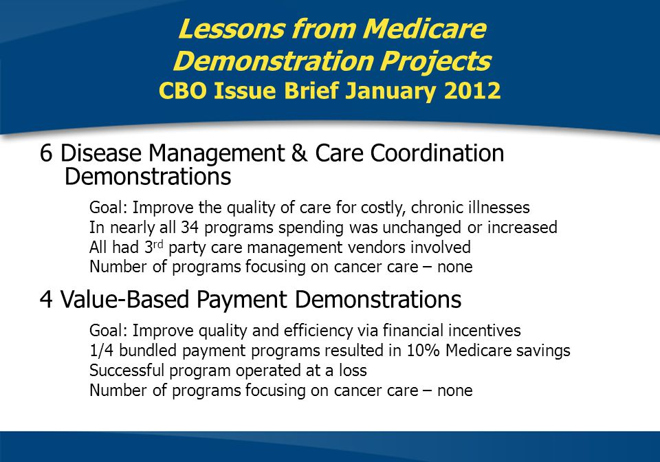 Lessons from Medicare Demonstration Projects CBO Issue Brief January 2012 6 Disease Management & Care Coordination Demonstrations Goal: Improve the quality of care for costly, chronic illnesses In nearly all 34 programs spending was unchanged or increased All had 3 rd party care management vendors involved Number of programs focusing on cancer care – none 4 Value-Based Payment Demonstrations Goal: Improve quality and efficiency via financial incentives 1/4 bundled payment programs resulted in 10% Medicare savings Successful program operated at a loss Number of programs focusing on cancer care – none