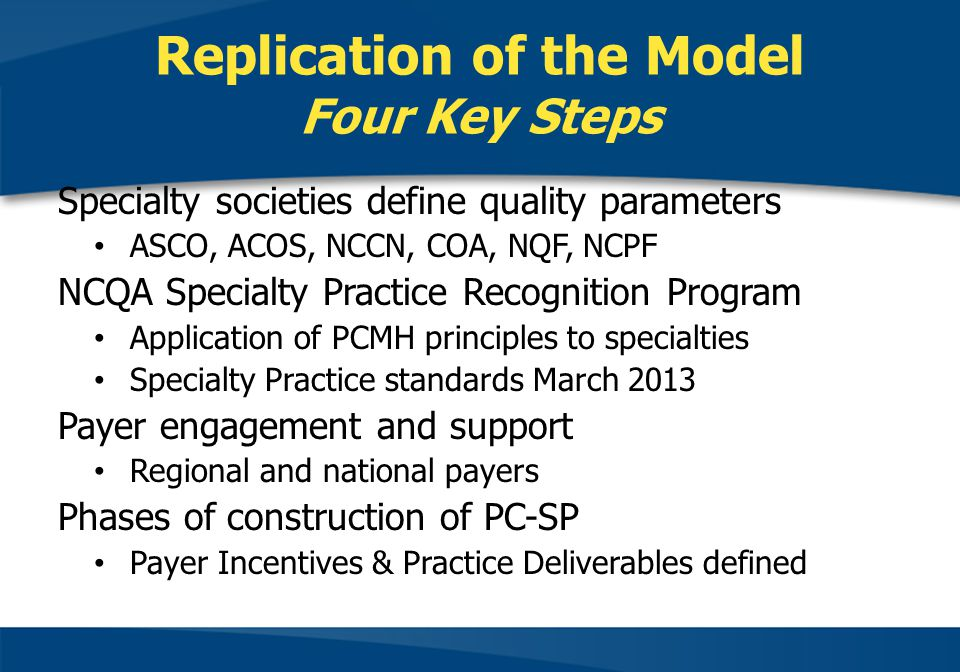 Replication of the Model Four Key Steps Specialty societies define quality parameters ASCO, ACOS, NCCN, COA, NQF, NCPF NCQA Specialty Practice Recognition Program Application of PCMH principles to specialties Specialty Practice standards March 2013 Payer engagement and support Regional and national payers Phases of construction of PC-SP Payer Incentives & Practice Deliverables defined