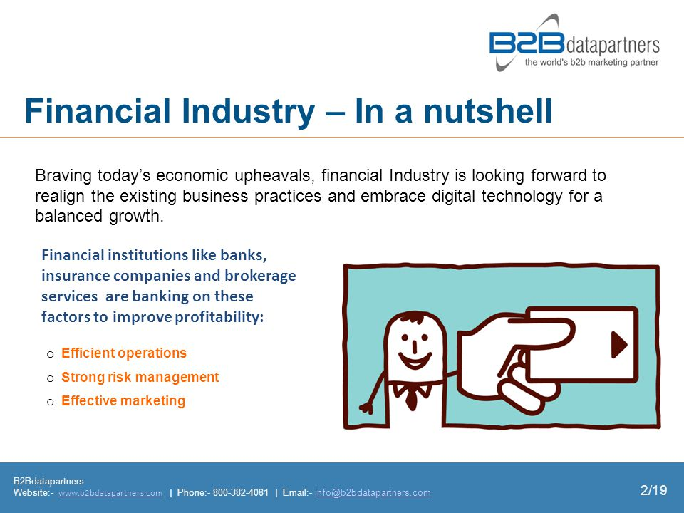 Financial Industry – In a nutshell B2Bdatapartners Website:-   | Phone: |  - o Efficient operations o Strong risk management o Effective marketing Braving todays economic upheavals, financial Industry is looking forward to realign the existing business practices and embrace digital technology for a balanced growth.