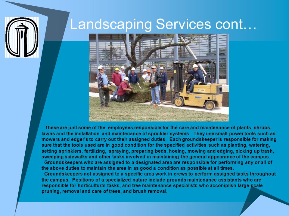 Landscaping Services cont… These are just some of the employees responsible for the care and maintenance of plants, shrubs, lawns and the installation