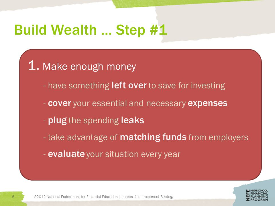 Build Wealth … Step #1 ©2012 National Endowment for Financial Education | Lesson 4-4: Investment Strategy6 1.