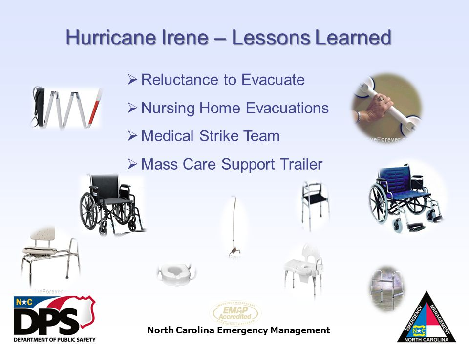 North Carolina Emergency Management Hurricane Irene – Lessons Learned Reluctance to Evacuate Nursing Home Evacuations Medical Strike Team Mass Care Su