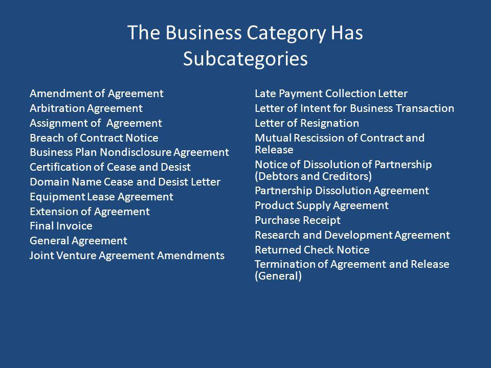 The Business Category Has Subcategories Amendment of Agreement Arbitration Agreement Assignment of Agreement Breach of Contract Notice Business Plan N