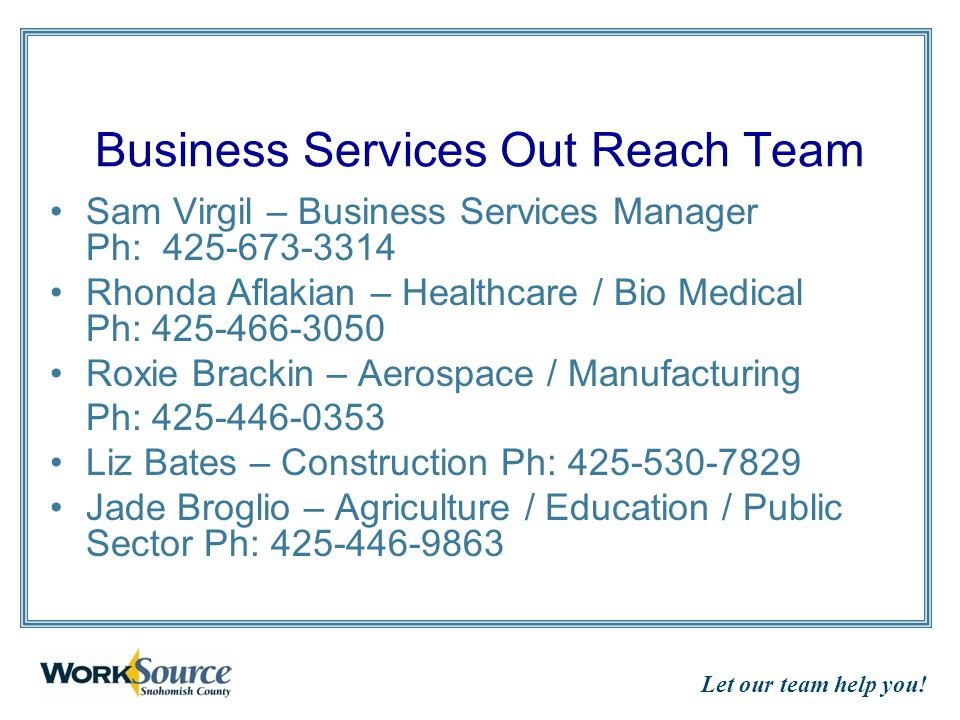 Let our team help you.