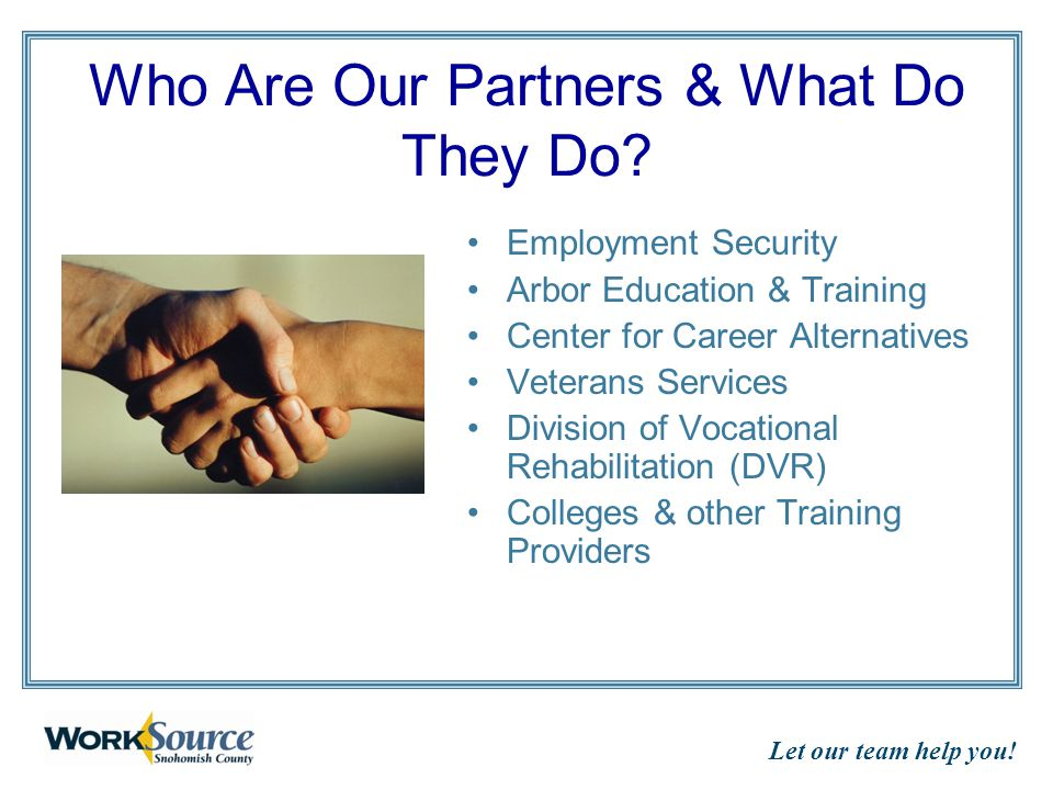 Let our team help you. Who Are Our Partners & What Do They Do.