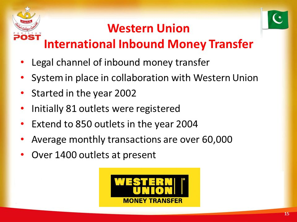 Western Union International Inbound Money Transfer Legal channel of inbound money transfer System in place in collaboration with Western Union Started